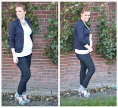 The Freckled Fox : What I wore // navy blue, and chevron heels