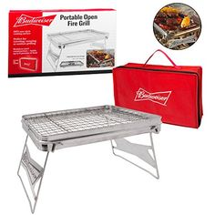 Introducing Camping Grill  Portable Compact Scout Outdoor Grill by Budweiser 165 X 105  Weighs Just 25 Lbs and Includes Budweiser Carrying Bag. Great Product and follow us to get more updates!
