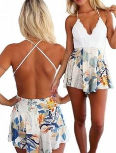 Backless Spaghetti Strap White Lace + Floral Jumpsuit Summer Fashion