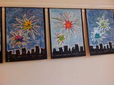 Vuurwerk Winter Activities For Kids, Winter Crafts For Kids, Kids Crafts, Art For Kids, Fireworks Craft For Kids, 4th Of July Fireworks, Bonfire Night, Firework Painting, Fireworks Pictures