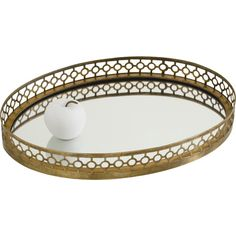Arteriors Antique Brass Asher Oval Tray found on Polyvore