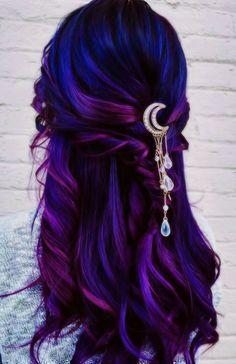 Cute Hair Colors, Pretty Hair Color, Hair Dye Colors, Hair Colour Ideas, Blue Ombre Hair, Hair Color Purple, Crazy Color Hair Dye, Purple Hair Styles, Purple Hair Tips