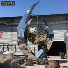 Cheap Price Abstract Large Stainless Steel Ball Sculpture for Sale Love Statue, Sculptures For Sale, Metal Projects, Elements Of Art, Stainless Steel, Abstract, Modern, Blue, Outdoor