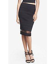 Elastic Stripe High Waist Sheer Inset Midi Skirt from EXPRESS