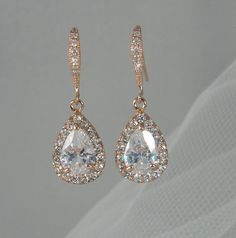 Rose Gold Bridal earrings, Pink Gold Wedding jewelry, Swarovski Crystal Wedding earrings Bridal jewelry, Ariel Drop Earrings - Best Of Daily Sharing Gold Bridal Earrings, Bridal Bracelet, Bridal Necklace, Bridal Jewelry, Wedding Necklaces, Gold Necklace, Wedding Earrings Drop, Gold Locket, Locket Necklace