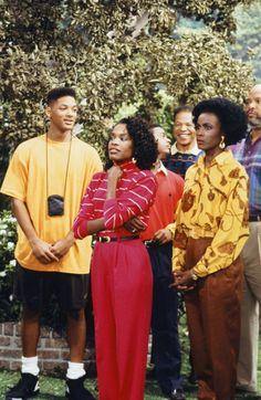 Will Smith, Charlayne Woodard and Janet Hubert on The Fresh Prince of Bel Air Jaden Smith, Will Smith, Fashion Models, Fashion Tv, Hip Hop Fashion, Fresh Prince, Jada Pinkett Smith, Le Happy, 90s Tv Shows Cartoons