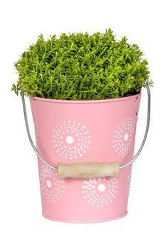 Roze zinken bloempot met witte details - lief! lifestyle | Pink zinc flowerpot with white details - lief! lifestyle