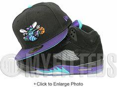 596a9914c3f Charlotte Hornets Black Concord Aqua White Air Jordan Retro 5 Black Grape  Matching New Era Hat