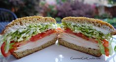 Sesame Seed Sandwich Buns - plus an Amazing Turkey SANDWICH ( for buns, can sub buttermilk for 1/2 c. of almond milk and a teaspoon of lemon juice or vinegar - uses almond and coconut flour, golden flax meal / Gourmet Girl Cooks