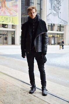 all black lammy coat fashion men tumblr style streetstyle jeans leather boots