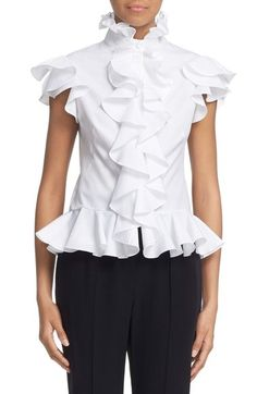 sz 10 and 12 Alexander McQueen Cotton Poplin Ruffle Blouse available at #Nordstrom