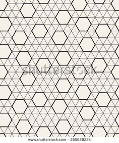 Vector seamless pattern. Modern stylish texture. Repeating geometric tiles with triangular linear grid and randomly disposed hexagons - stock vector: