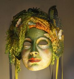 The Art of the Mask von TheArtOfTheMask auf Etsy Memento Mori, Costumes For Work, Costume Ideas, Halloween Costumes, Absinthe, Dragon Mask, Green Fairy, Carnival Masks, Beautiful Mask