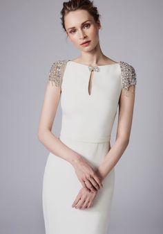 Reem acra cap sleeve white gown wedding