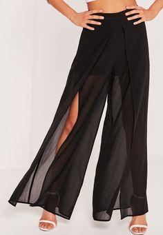 Missguided - Chiffon Split Front Palazzo Trousers Black