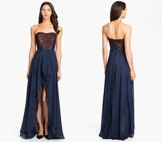 Nicole miller navy metallic gown