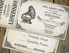 Music Concert inspired Gramophone VIP Ticket Invitation for wedding with matching response card via Etsy