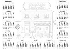 Descarga Gratis en nuestra web la ilustración calendario de nuestra bonita tienda de ilustraciones. Ilustración de Ana Línea. Disponible gratis la imagen con calidad en www.chocolateillustration.com #chocolateillustration #dibujosparapintar #colorear #yocoloreo #chocoshopcalendario