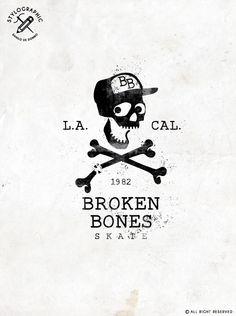 """""""BB"""" BROKEN BONES Skate crew! Graphic design in Black color with Fun skull and broken bones. Skateboard world inspiration. (Los Angeles, California 1982). Graphic design made by Danilo De Donno www.danilodedonno.com © ALL RIGHT RESERVED"""