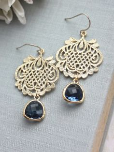 Navy Blue, Sapphire Blue Gypsy, Gold Filigree Earrings | From Marolsha.