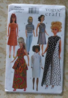 115 Fashion Doll Clothes Sewing Pattern Retro by latenightcoffee, $18.00
