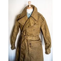 Sold. WW2 British Motorcycle Dispatch Coat. Heavy duty rubberized canvas. Vintage Leather Jacket, Leather Jackets, Vintage Sportswear, British Motorcycles, Mens Fashion, Fashion Outfits, Work Wear, Menswear, Military Clothing