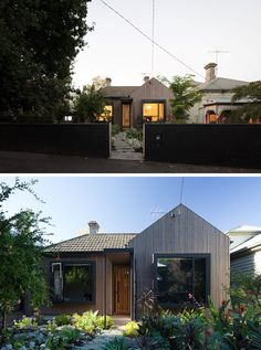 The new street facade of this original brick cottage was re-clad using greyed timber battens to soften the brown brick walls, while the bedrooms have been given a pop bay window relieving the flat facade. Brown Brick Houses, Grey Houses, Architecture Design, Minimalist Architecture, Australian Architecture, New Home Windows, House Windows, Victorian Cottage, Victorian Homes