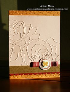 I love this elegant card made with the Stampin Up embossing folders!