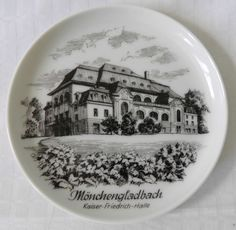AK KAISER Friedrich Halle German Tourist Trinket Pin Dish Coaster West Germany