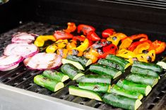 Balsamic Grilled Vegetables like zucchini, bell pepper and red onion are tossed in super delicious balsamic marinade and are grilled right away. Warm or cold, this easy summer side dish is a sure crowd pleaser! Grilled Vegetable Recipes, Grilled Shrimp Recipes, Healthy Grilling Recipes, Grilled Vegetables, Seafood Recipes, Appetizer Recipes, Vegetarian Recipes, Dinner Recipes, Mixed Vegetables