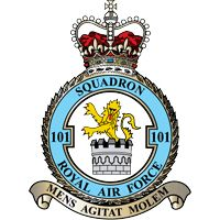 #101st RAF Squadron was formed at South Farnborough on 12 July 1917, and two weeks later went to St Andre-aux Bois, France with FE2s as a night bomber squadron. At the outbreak of WW II, the squadron was equipped with Blenheim IVs and was involved in attacks against enemy barge concentrations in the Channel Ports.
