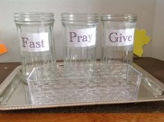 This is the other part for Children's Liturgy of the Word. During Lent, if a child has remembered to FAST, PRAY or GIVE they put a bean in the jar.