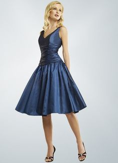 Dark Navy V-neck Knee Length Bridesmaid Dress
