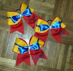Check out this item in my Etsy shop https://www.etsy.com/listing/226808921/tweedle-dee-and-tweedle-dum-cheer-bow