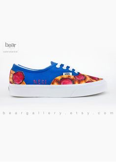 68ae29ab86 Custom Painted Pizza Vans Shoes - Hand Painted Pizza Shoes - Pepperoni  Pizza Pattern