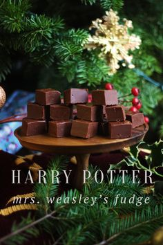 A recipe for Mrs. Weasley's chocolate fudge inspired by the stories of Harry Potter by JK Rowling. #HarryPotter #Fudge #recipes #Christmas