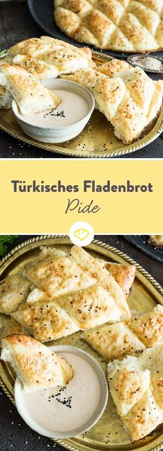 - Außen knusprig, innen fluffig: So machst du türkisches Fladenbrot Pide Recipe – Turkish Flatbread – Make It Easy – To Dip And Barbeque *** Pide / Pita – Flatbread Recipe for Homemade Turkish Pizza Pita Flatbread Recipe, Pide Recipe, Grilling Recipes, Cooking Recipes, Queijo Cottage, Tzatziki, Good Food, Yummy Food, Turkish Recipes