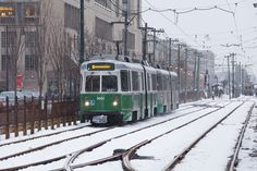 Photo Gallery: Winter storm blankets Boston   Trains Magazine This MBTA Green Line lrv looks like its on Commonwealth Ave near Boston University