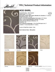 Alendel Fabrics Mod Swirl TPS | Technical Product Information Sheet