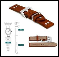 BROWN Leather 24/24mm Silver Buckle Watch Band Strap Pilot Aviator Fits Panerai