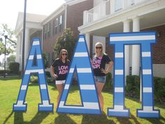 Blue and White Alpha Delta Pi letters for the HQ Collegiate Services Coordinator!