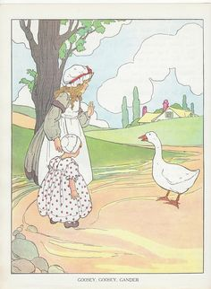 Great Vintage Nursery Rhyme Ilration And Led Goosey Gander From The Real Mother Goose
