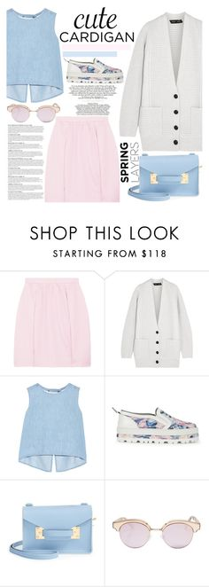 """""""Cashmere Cardigan: Spring-Inspired Look"""" by poppynight ❤ liked on Polyvore featuring J.Crew, Proenza Schouler, Steve J & Yoni P, MSGM, Sophie Hulme, Le Specs, Anja and Chanel"""