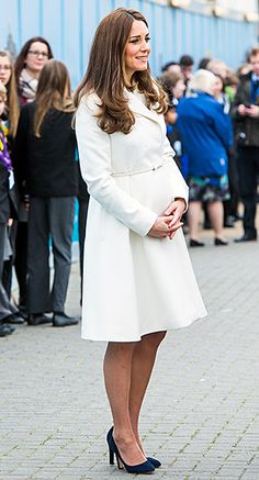 To visit the 1851 Trust for sailing in Portsmouth on Feb. 12, the Duchess donned a white Max Mara coat over an adorably thematic sailboat-print Somerset by Alice Temperley shift dress. She finished the look with a navy L.K. Bennett clutch and Jimmy Choo pumps.