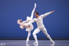 """Pacific Northwest Ballet principal dancers Carla Körbes and Batkhurel Bold perform in """"Jewels,"""" choreographed by George Balanchine."""
