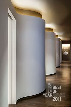 curved walls w/ pop of color to accent cove lighting Cove Lighting, Interior Lighting, Lighting Design, Ceiling Lighting, Ceiling Design, Wall Design, House Design, Contemporary Garden, Contemporary Interior
