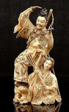 ivory okimono | Japanese ivory okimono of an Archer and ... | Okimono & Small Treasur ...