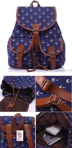 Leisure Navy Blue Anchor Rucksack Girl College Canvas Schoolbag Backpack for big sale ! #canvas #school #backpack #bag #anchor