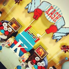 Baby Kashton's boxing theme baby shower! Had so much fun with this theme for his…
