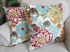 Floral Throw Pillow Cover Decorative Pillow Robins Egg Blue Red Orange Gold Set of Two 18 x 18 Invigorate Confetti via Etsy